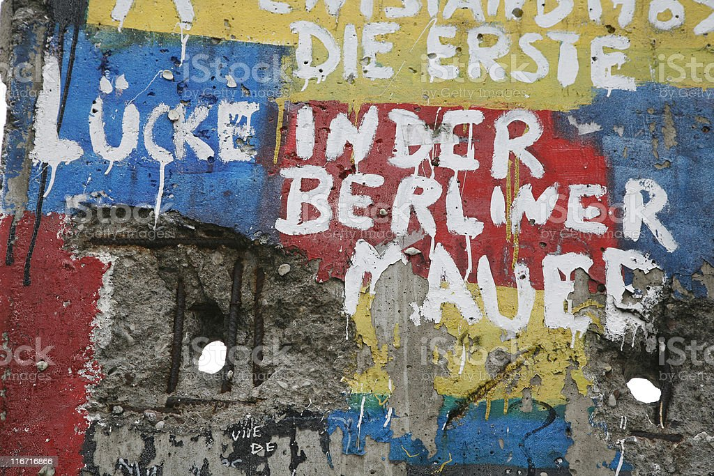 Graffiti and greetings on one of the remaining sections of the old...