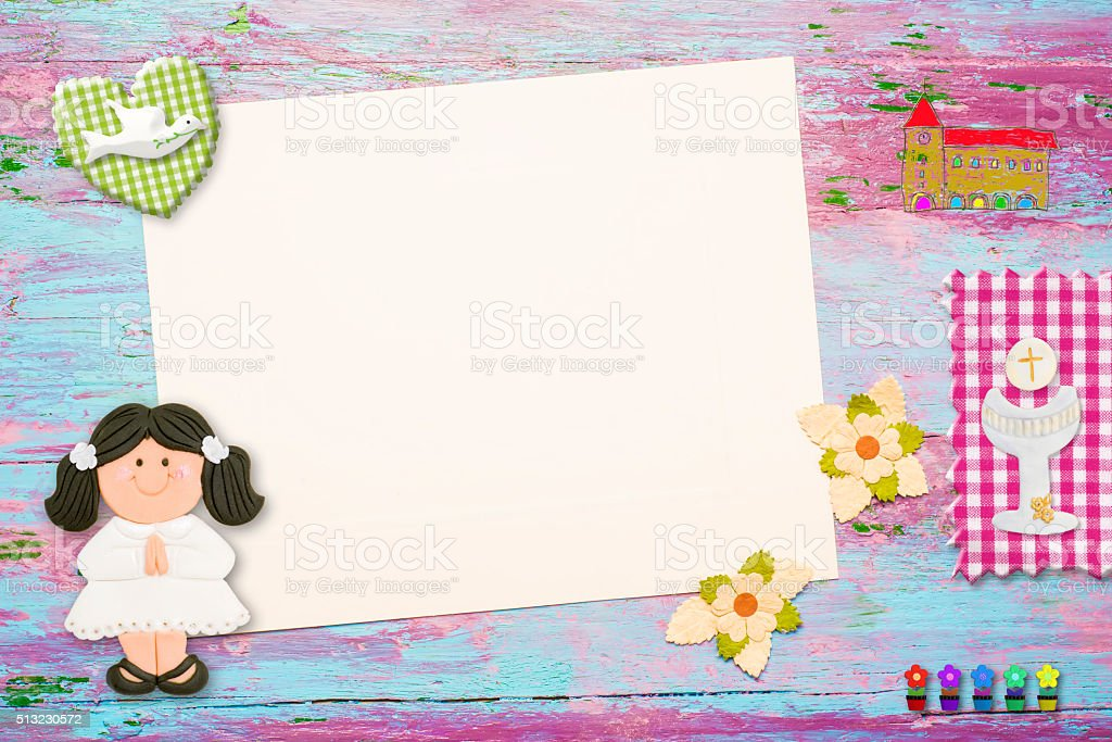 First Holy Communion invitation brunete girl stock photo