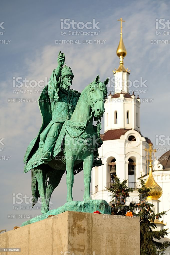 First in Russia Ivan the Terrible monument on concrete pedestal stock photo