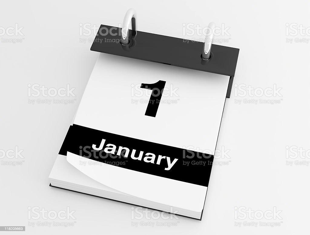first january desktop calendar royalty-free stock photo