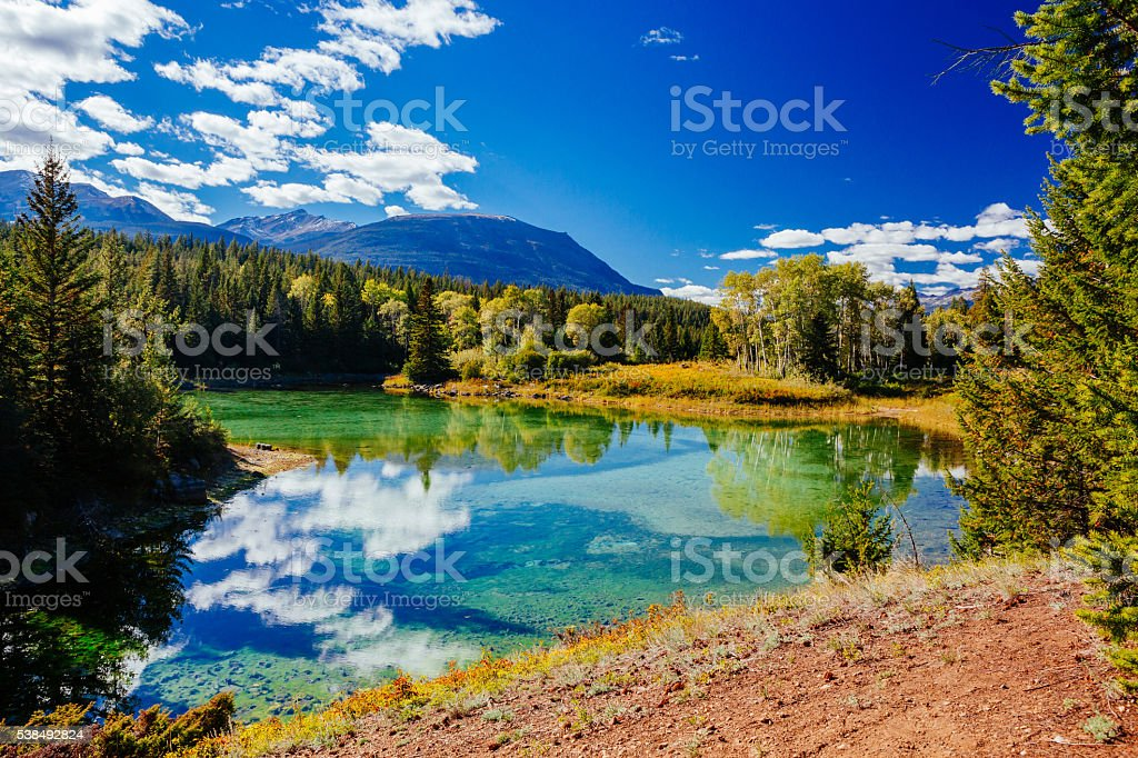 First Lake, Valley of the 5 Lakes, Jasper NP, Alberta stock photo
