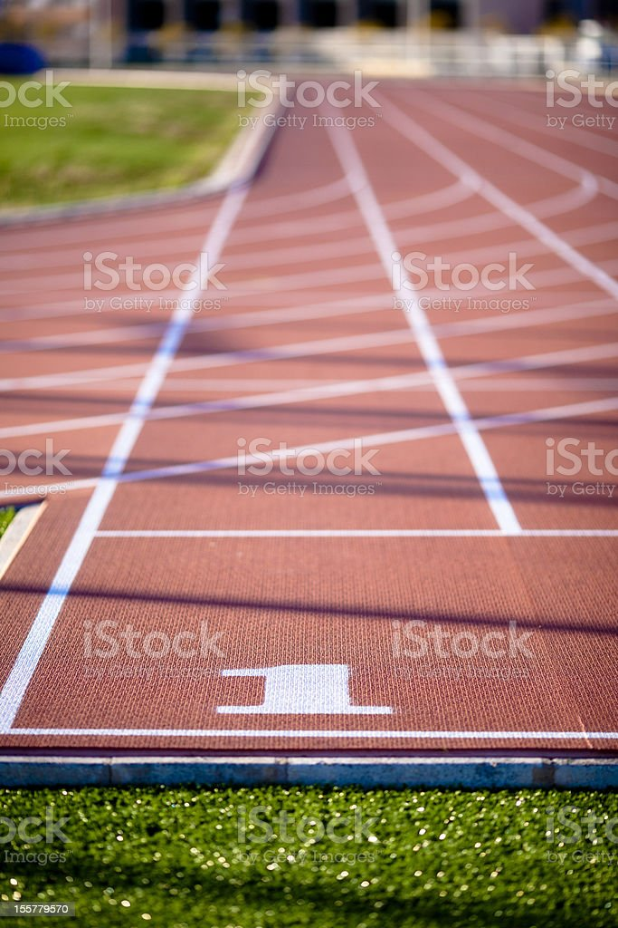 First lane on a running track royalty-free stock photo