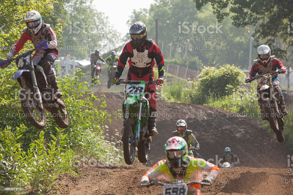 First lap whoops of a motocross race stock photo