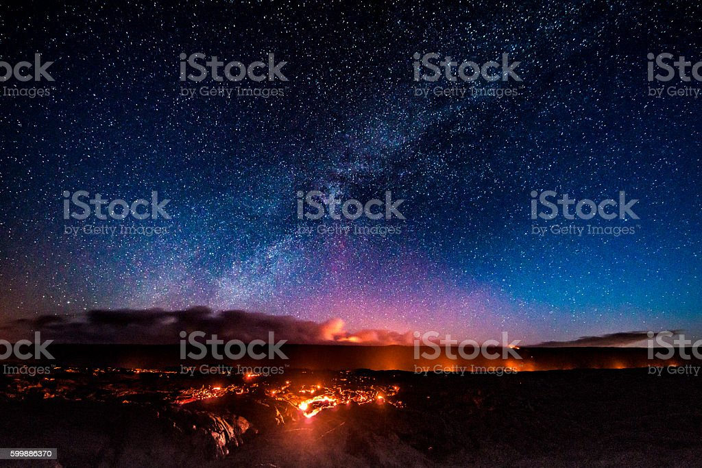 First light at Hawaii Volcanoes National Park stock photo