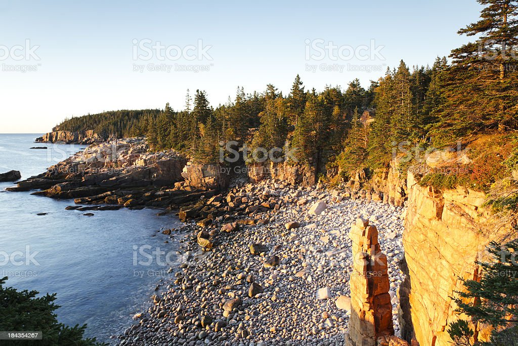 First light at Monument Cove, Acadia National Park, Maine stock photo