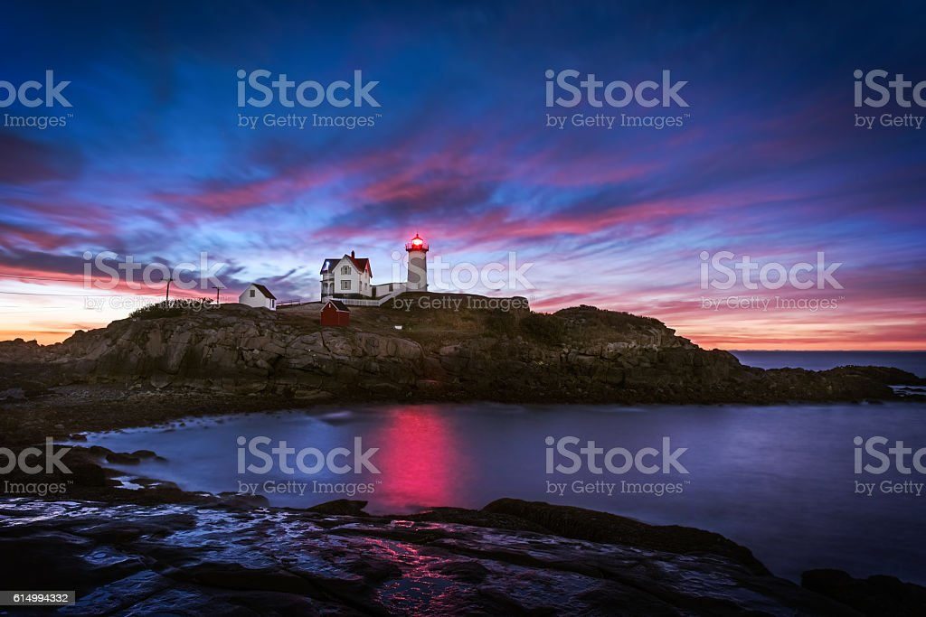 First Light at Nubble Lighthouse stock photo