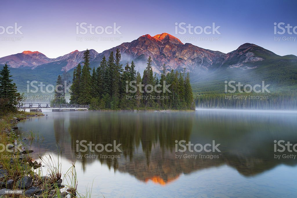 First Light at Pyramid Lake stock photo