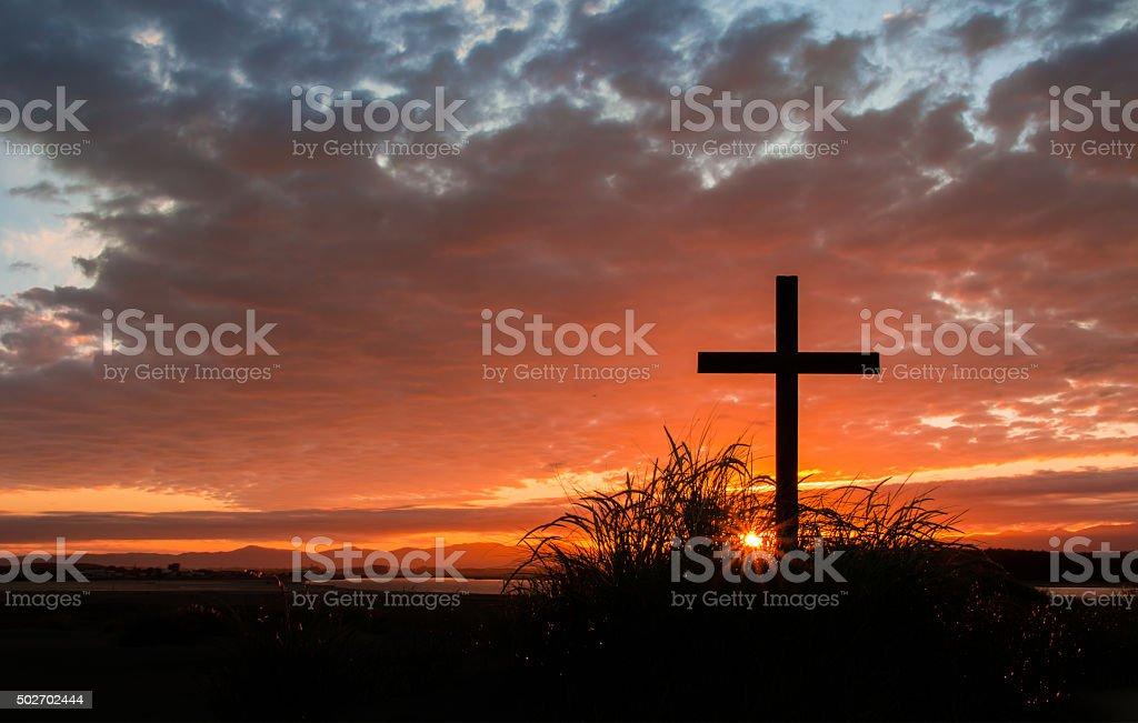 First Light Cross stock photo