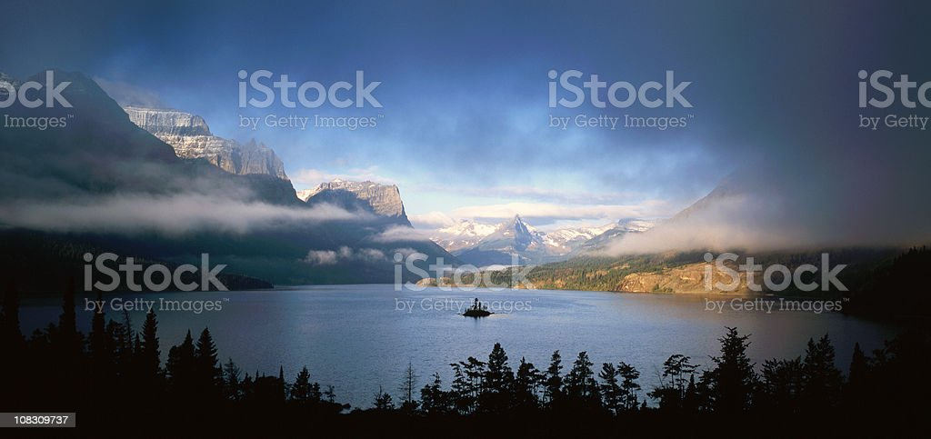 First Light in Saint Mary lake stock photo