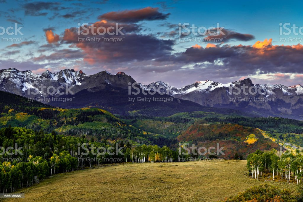 First Light in the San Juan Mountains stock photo