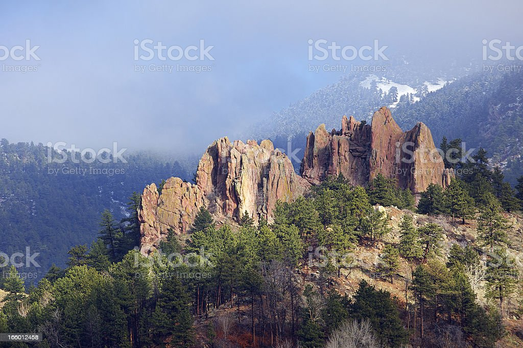 First Light on Boulder Colorado Red Rocks stock photo