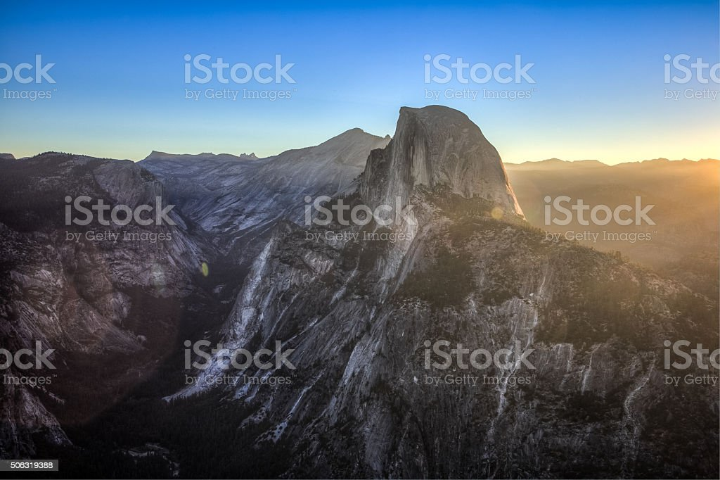 First Light on Half Dome stock photo