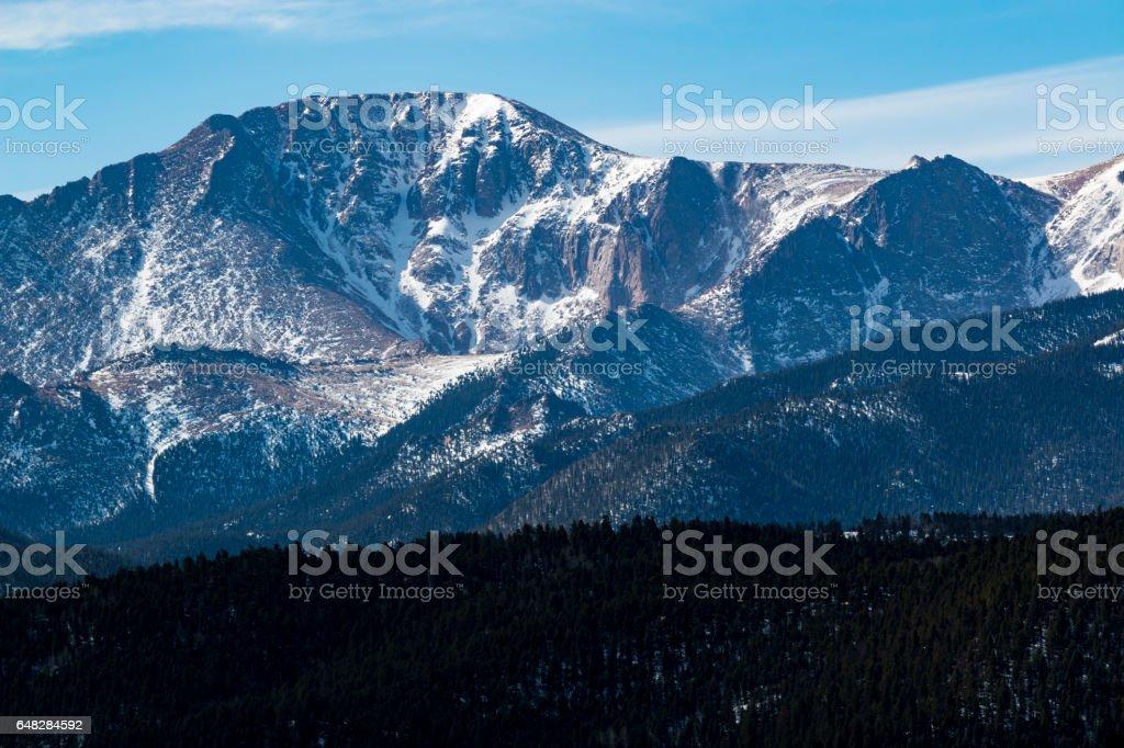 First Light on Pikes Peak stock photo