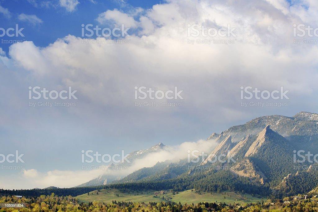 First Light on the Boulder Colorado Flatirons stock photo