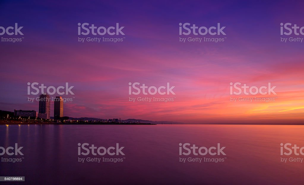 First light over Barcelona stock photo