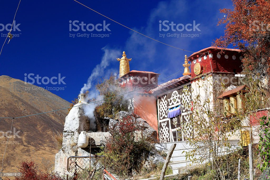 First main building-Drak Yerpa monastery. Lasa pref.-Tibet. 1491 stock photo
