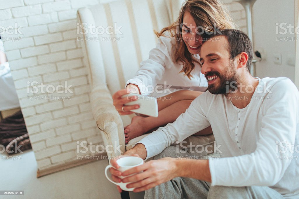 First morning selfie stock photo