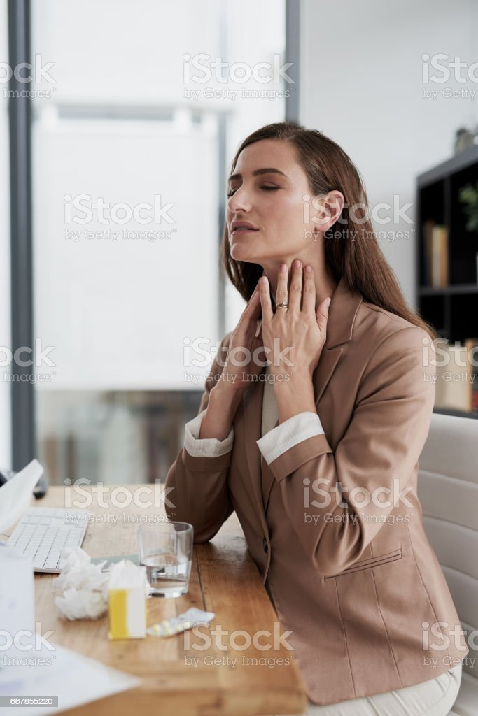 First my head and now my throat? stock photo