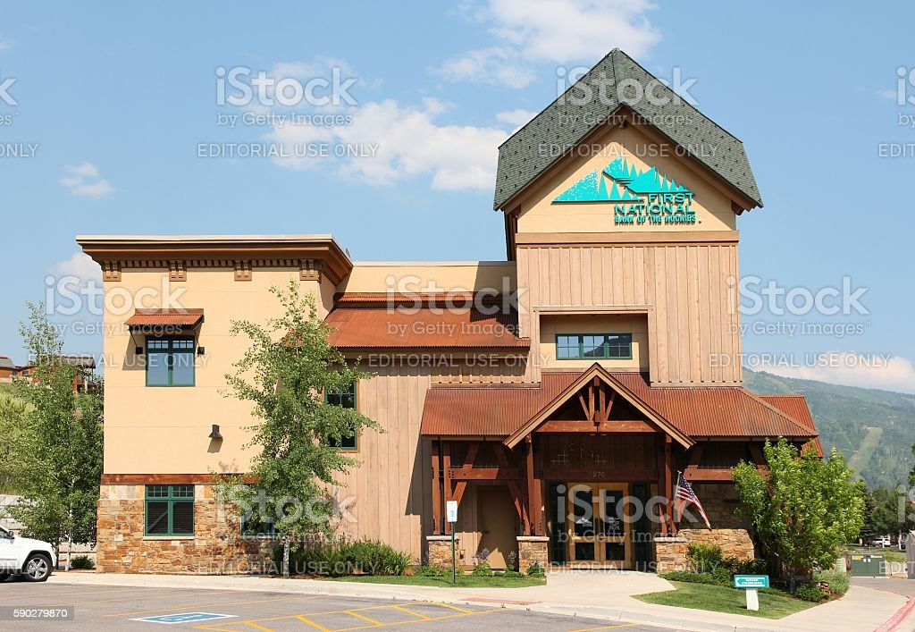 First National Bank of the Rockies stock photo