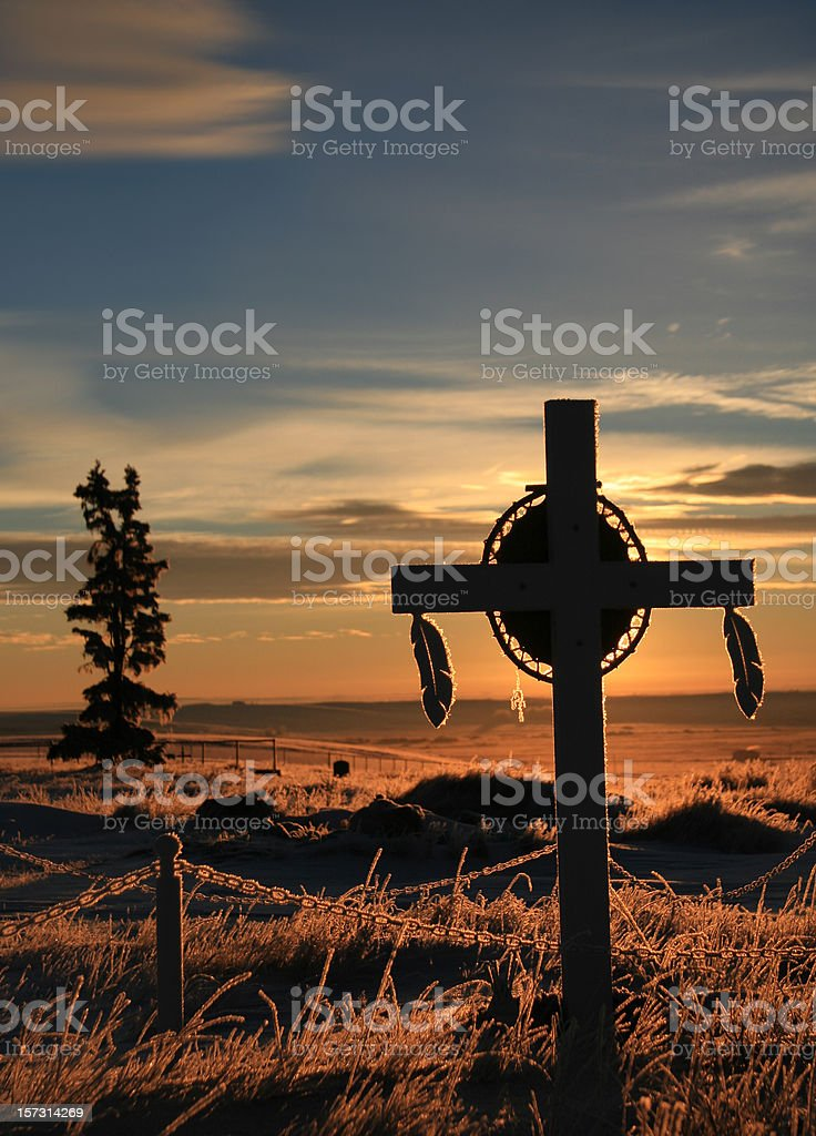 First Nations Grave Marker on Indian Reservation stock photo
