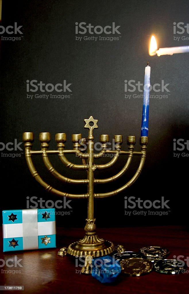 First night of Hanukkah stock photo