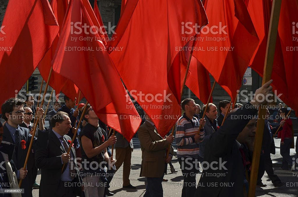 First of May demonstration in Milano stock photo