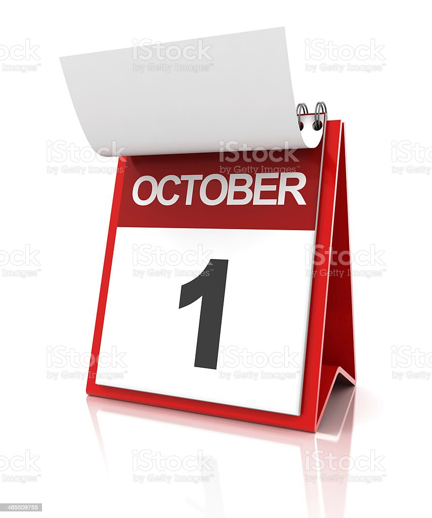 First of October calendar stock photo