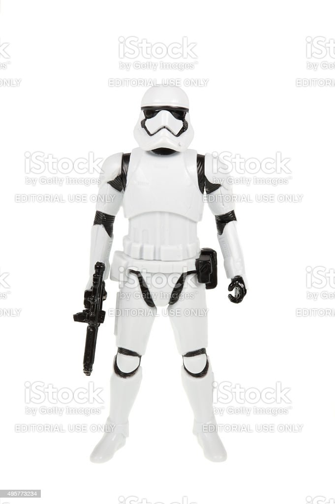 First Order Stormtrooper Action Figure stock photo