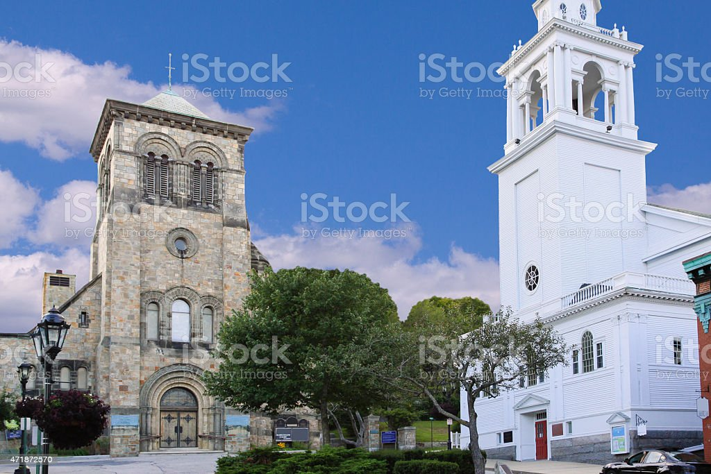 First Parish Church and Church of the Pilgrimage, Plymouth, Massachusetts. stock photo