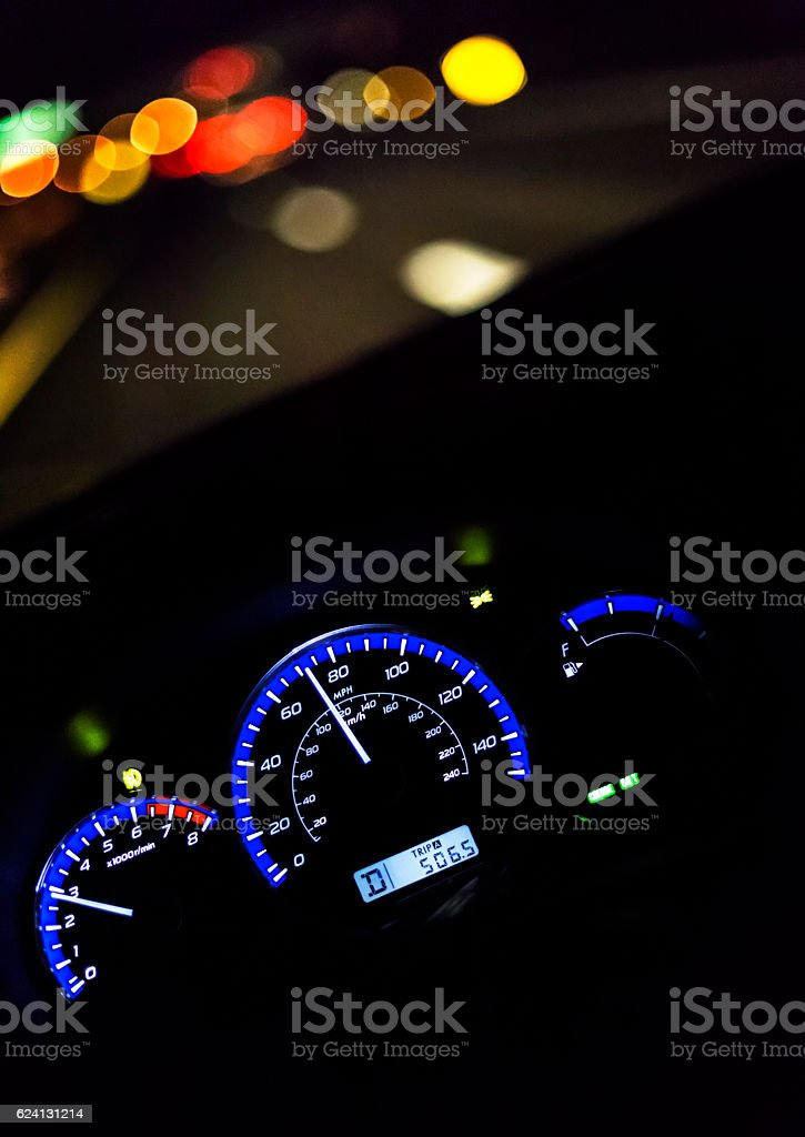 First Person Car Driver POV Night Highway Lights Motion Blur stock photo