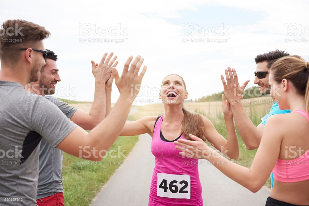 First person on the finishing line stock photo