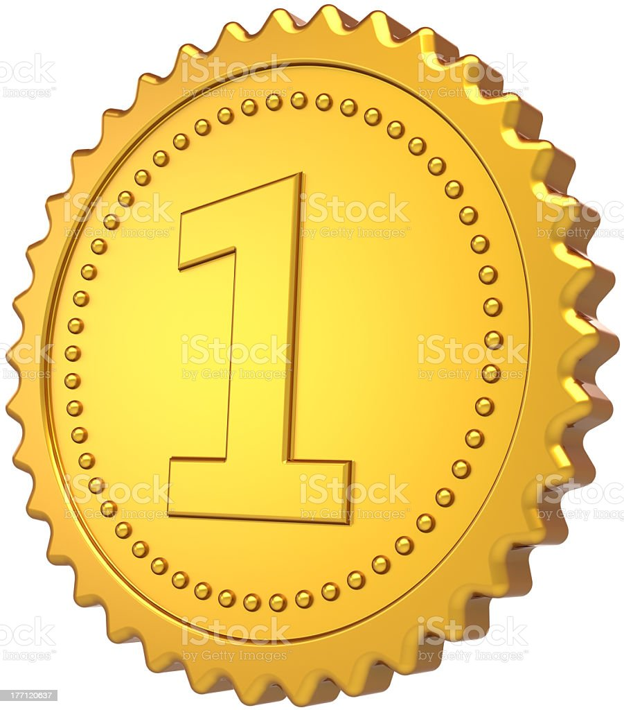 First place award gold medal number one trophy royalty-free stock photo