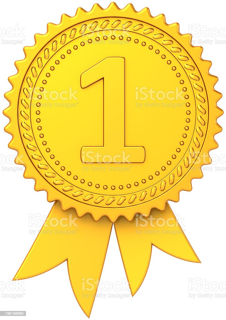 First place award ribbon Gold medal number one trophy royalty-free stock photo