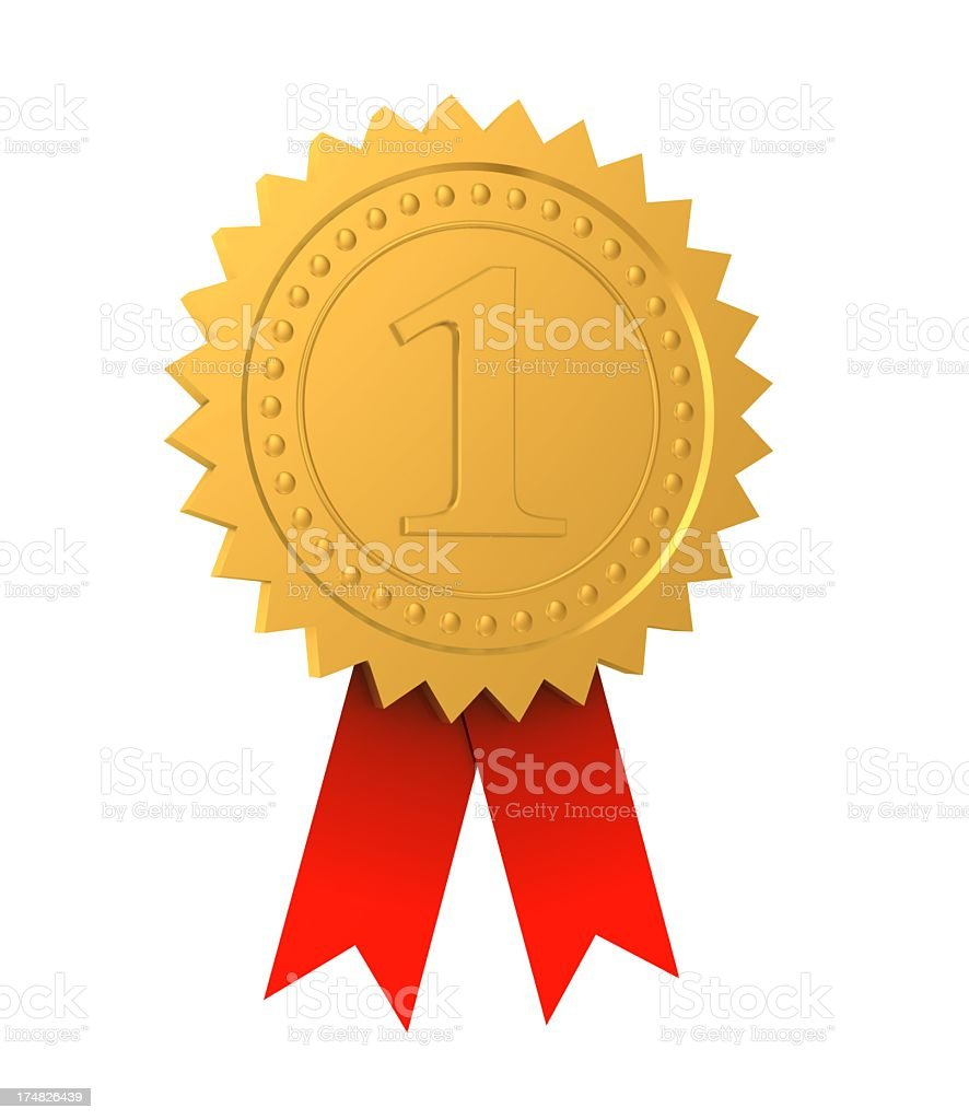 First place award ribbon Gold medal royalty-free stock photo