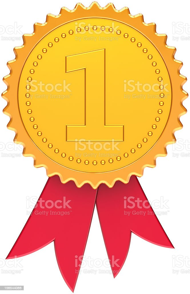 First place gold medal award ribbon champion success winner decoration royalty-free stock photo