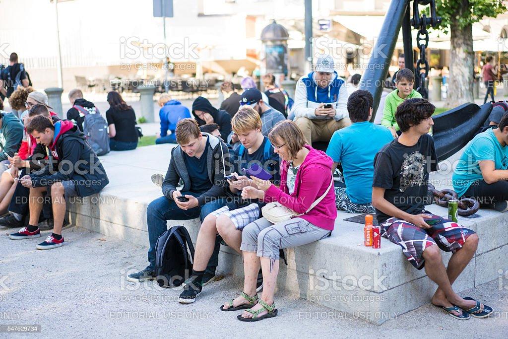 First Pokemon gathering in Ljubljana, Slovenia stock photo