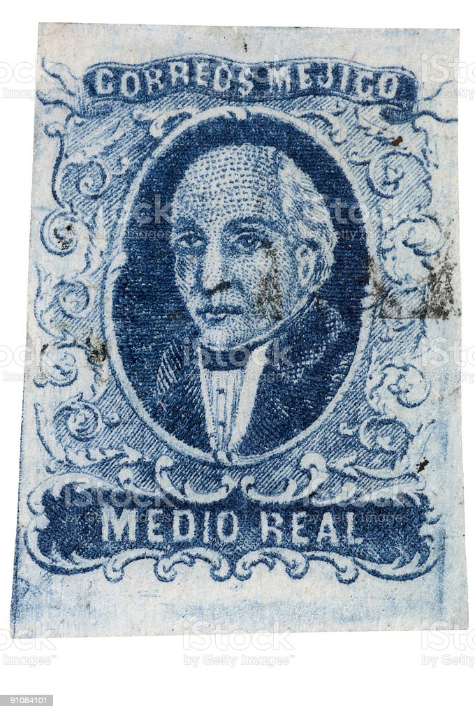First Postage Stamp of Mexico - 1856 Miguel Hidalgo stock photo