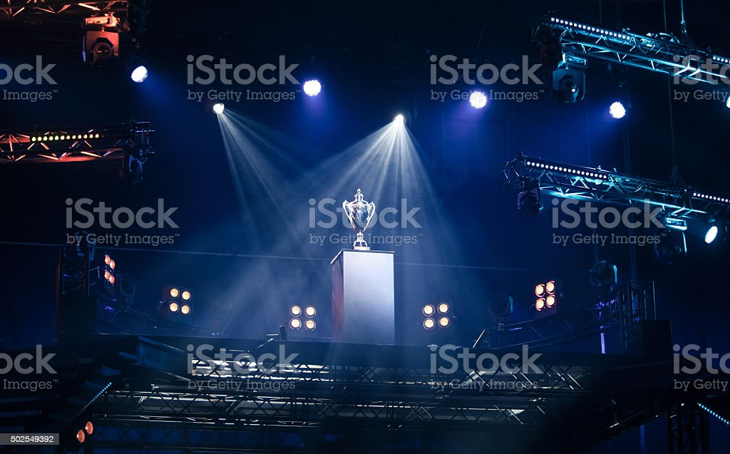 First prize trophy on a pedestal stock photo
