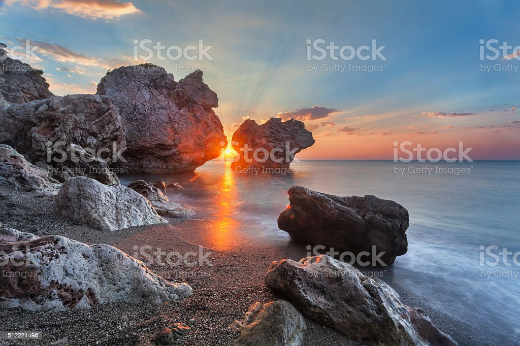 First rays of sunrise in Turkey stock photo