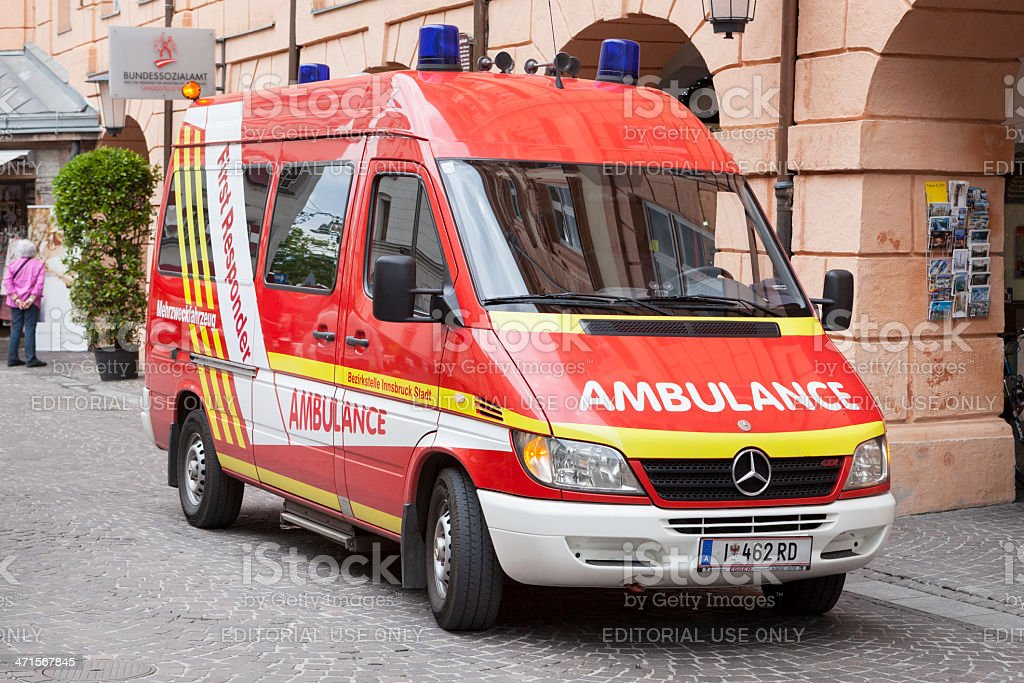 First responder ambulance, Innsbruck, Austria royalty-free stock photo