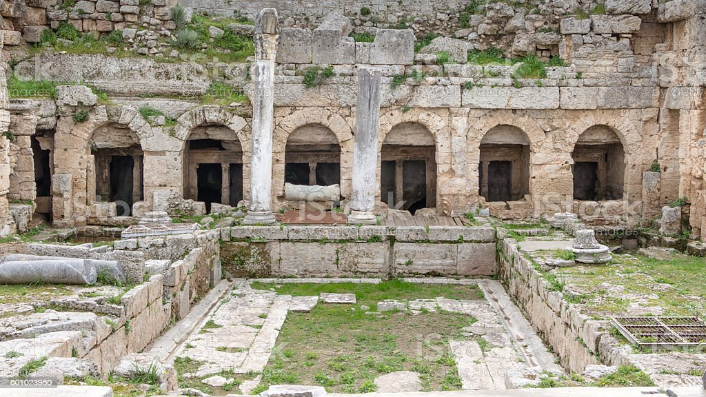 First Roman waterworks system in Ancient Corinth, Greece stock photo