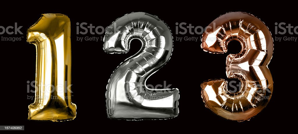 First, Second and Third place (+clipping paths, XXL) royalty-free stock photo