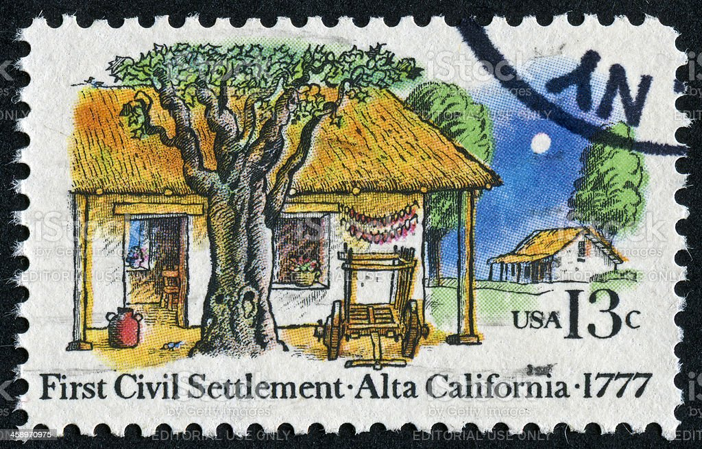 First Settlement In California Stamp royalty-free stock photo