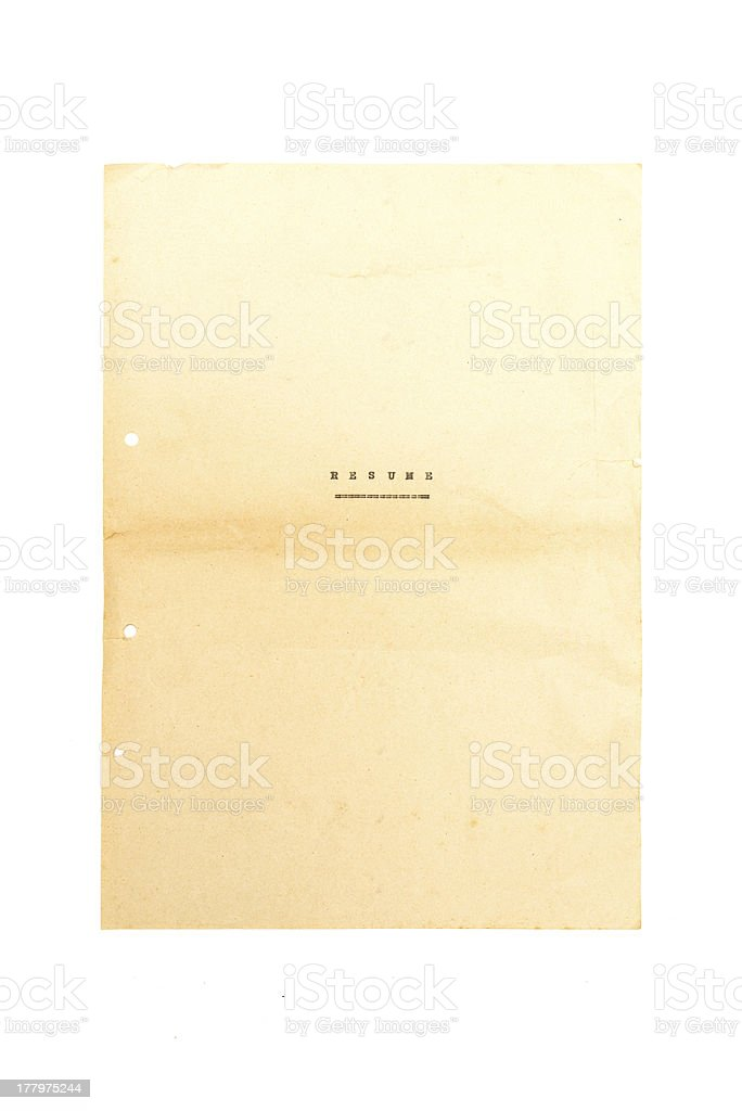 First sheet of antique resume royalty-free stock photo