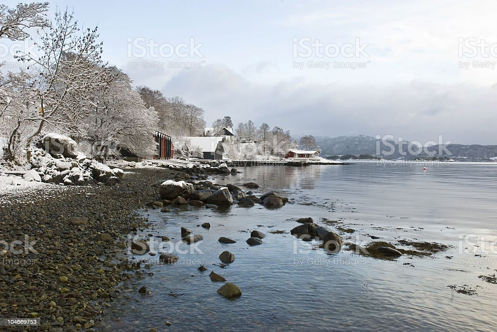 First snow in the shore line! stock photo