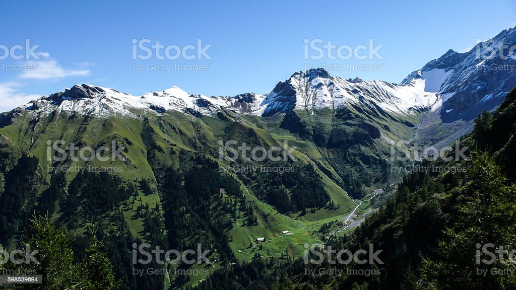 first snow in the Swiss Alps stock photo