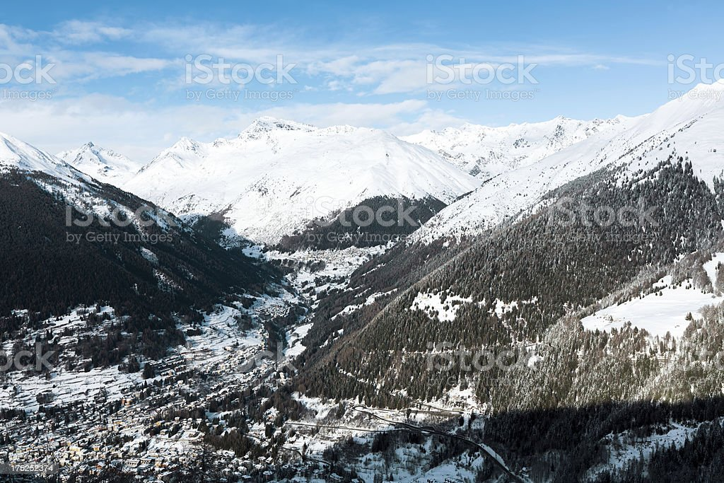 First snow on the top of Alps Mountains royalty-free stock photo