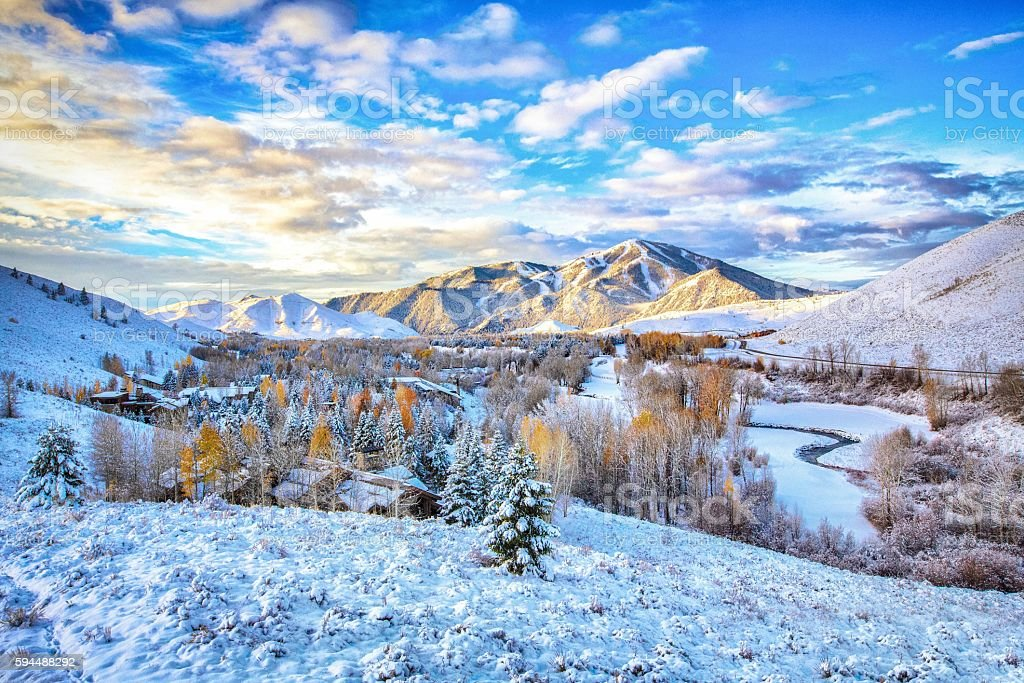 First Snow - Sun Valley, Idaho stock photo