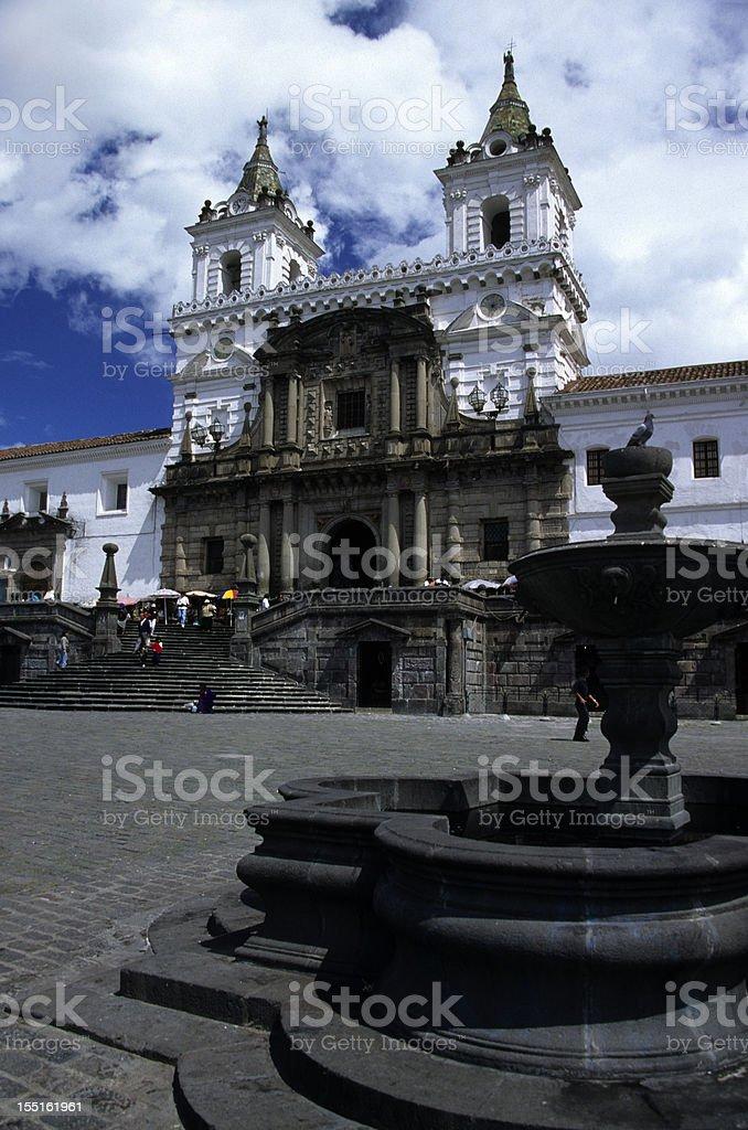 First Spanish Church in Quito Ecuador Iglesia de San Francisco stock photo