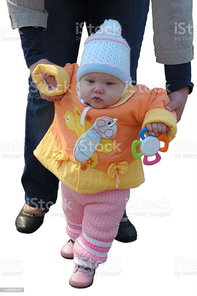 First steps of little girl. royalty-free stock photo